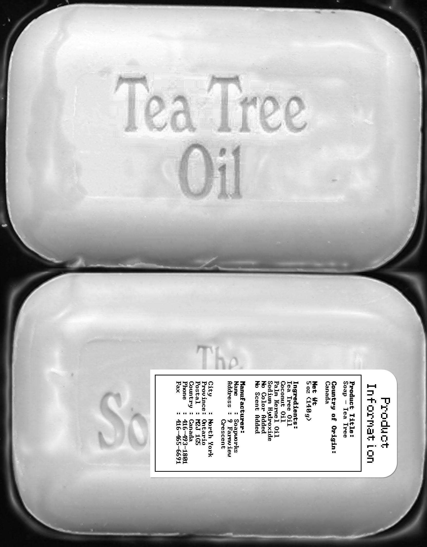Tea Tree Oil Soap - Label