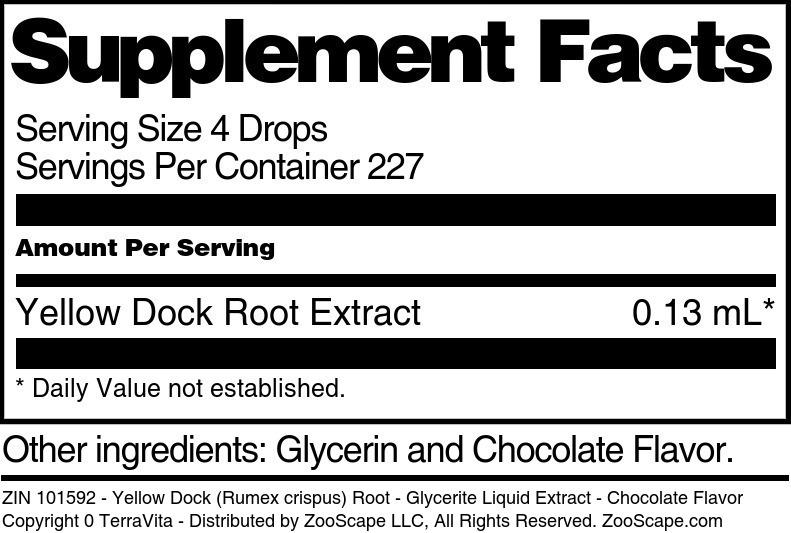 Yellow Dock (Rumex crispus) Root - Glycerite Liquid Extract - Chocolate Flavor - Label