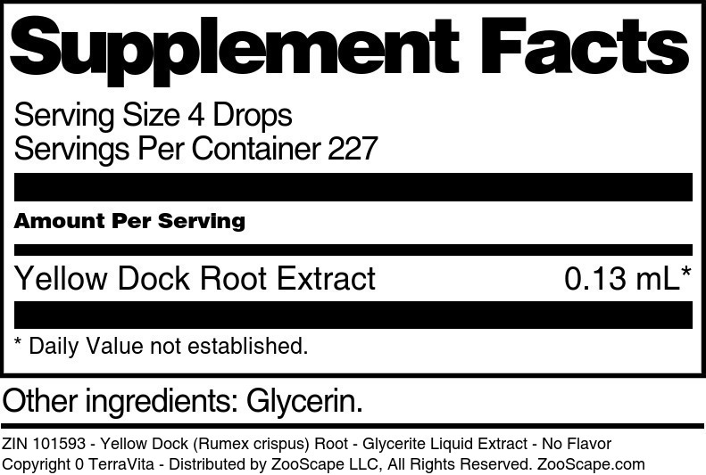 Yellow Dock (Rumex crispus) Root - Glycerite Liquid Extract