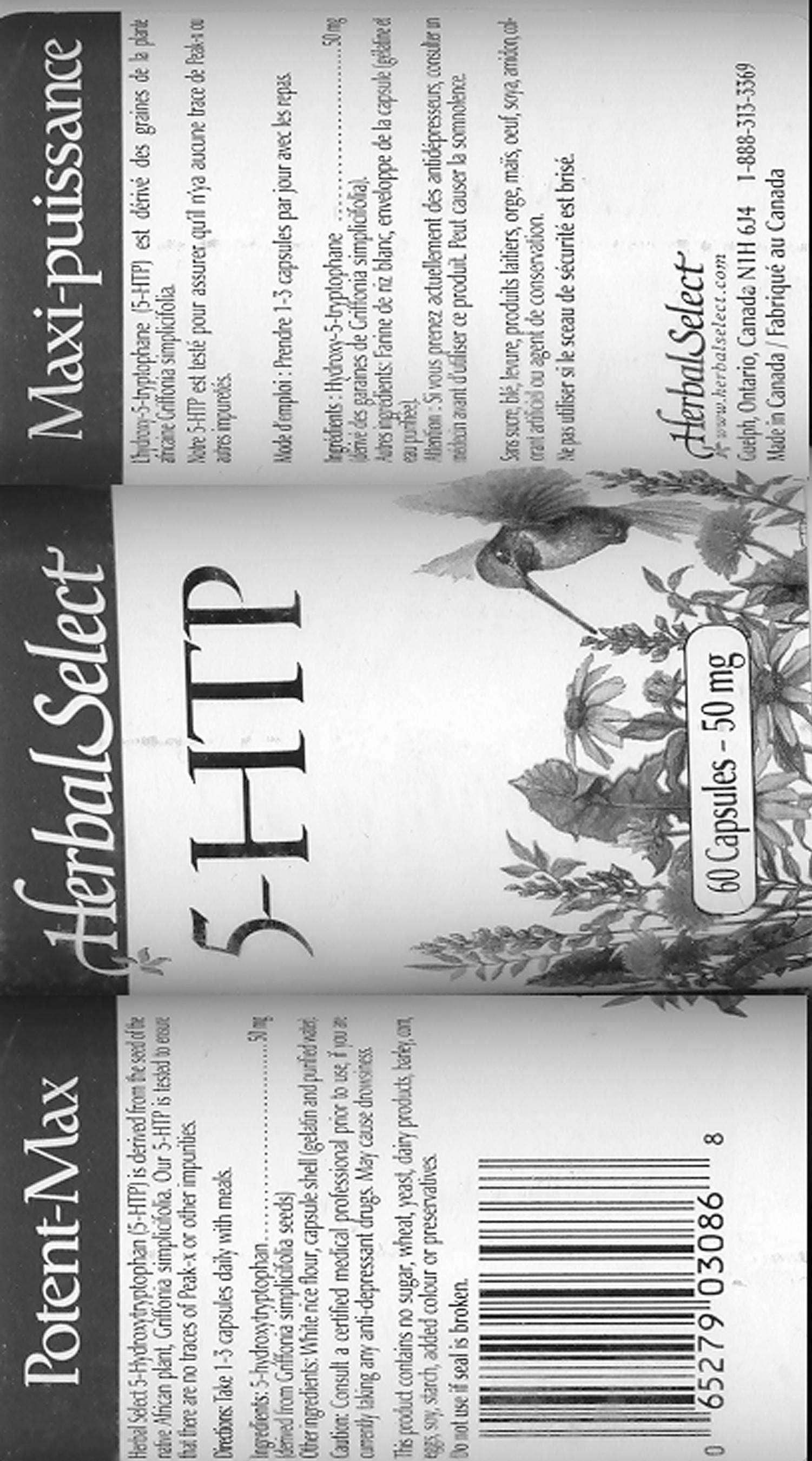 5-HTP - Griffonia Simplicifolia - 50 mg - Label