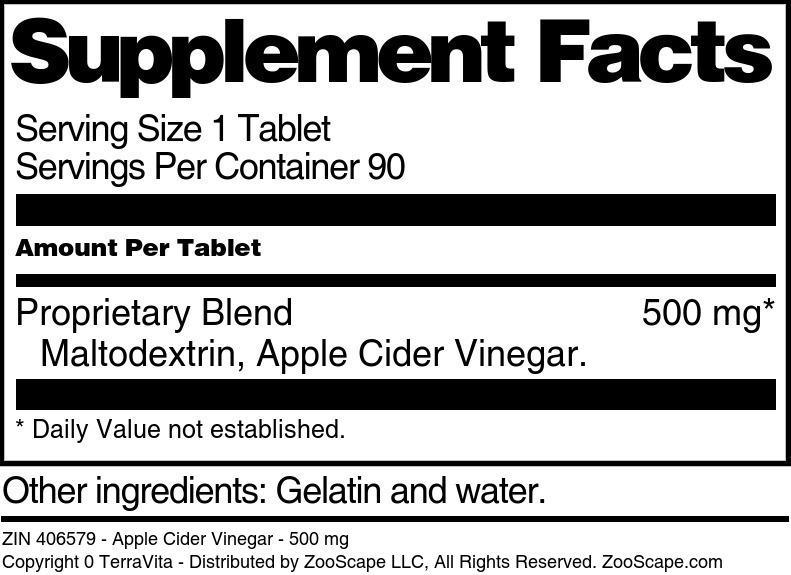 Apple Cider Vinegar - 500 mg
