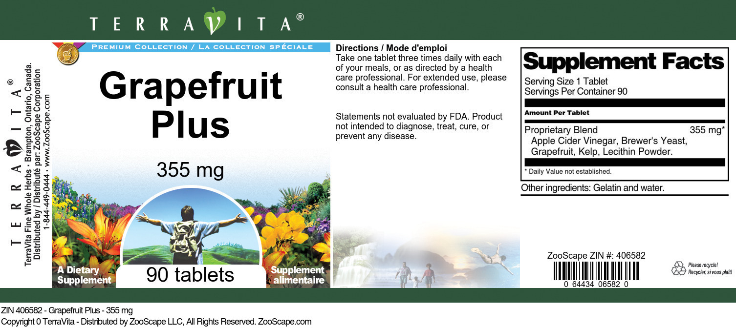 Grapefruit Plus - 355 mg - Label