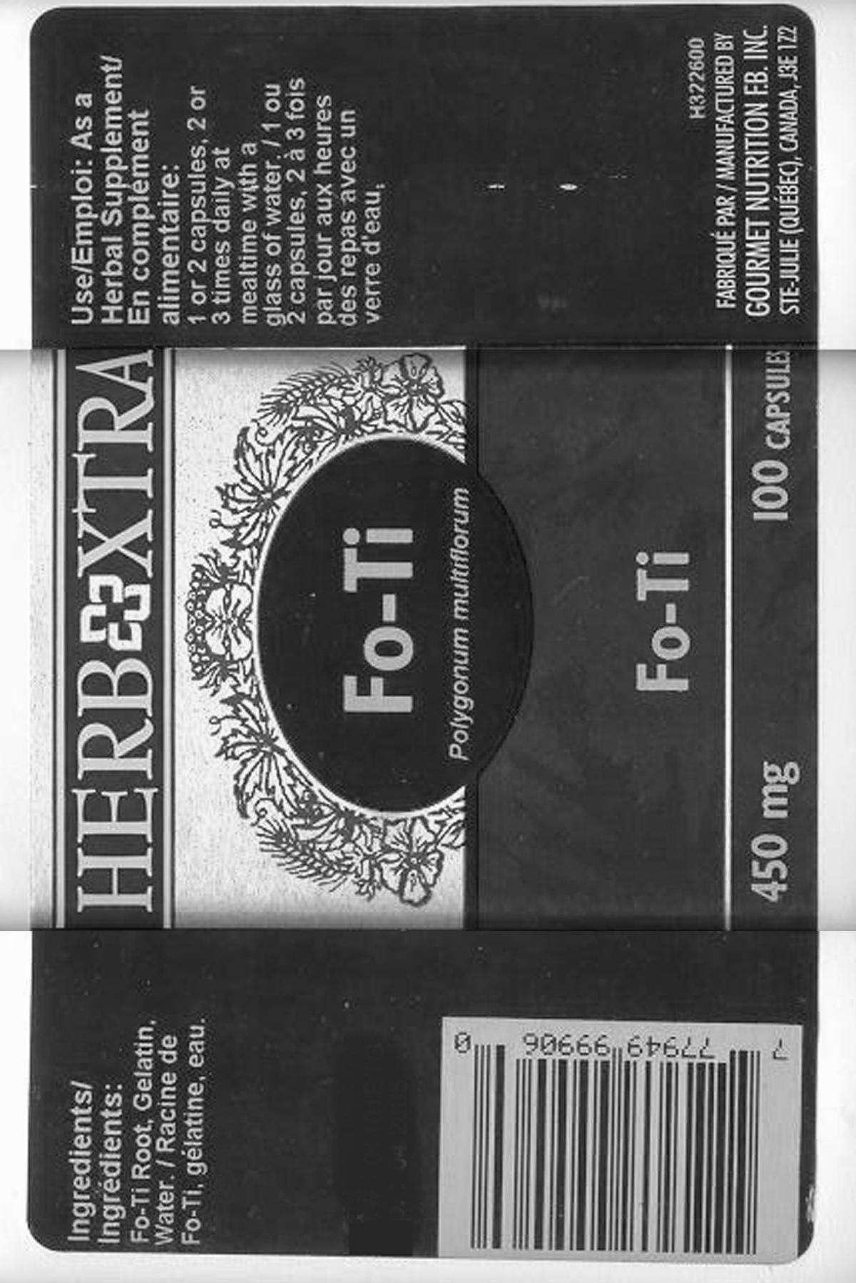 Fo-Ti Tieng (Ho Shou Wu) 450 mg - Label