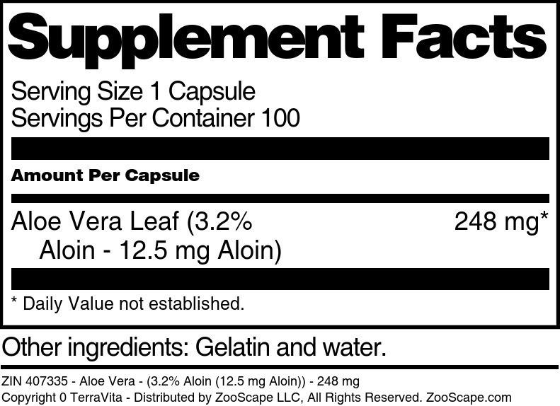 Aloe Vera - (3.2% Aloin (12.5 mg Aloin)) - 248 mg - Label