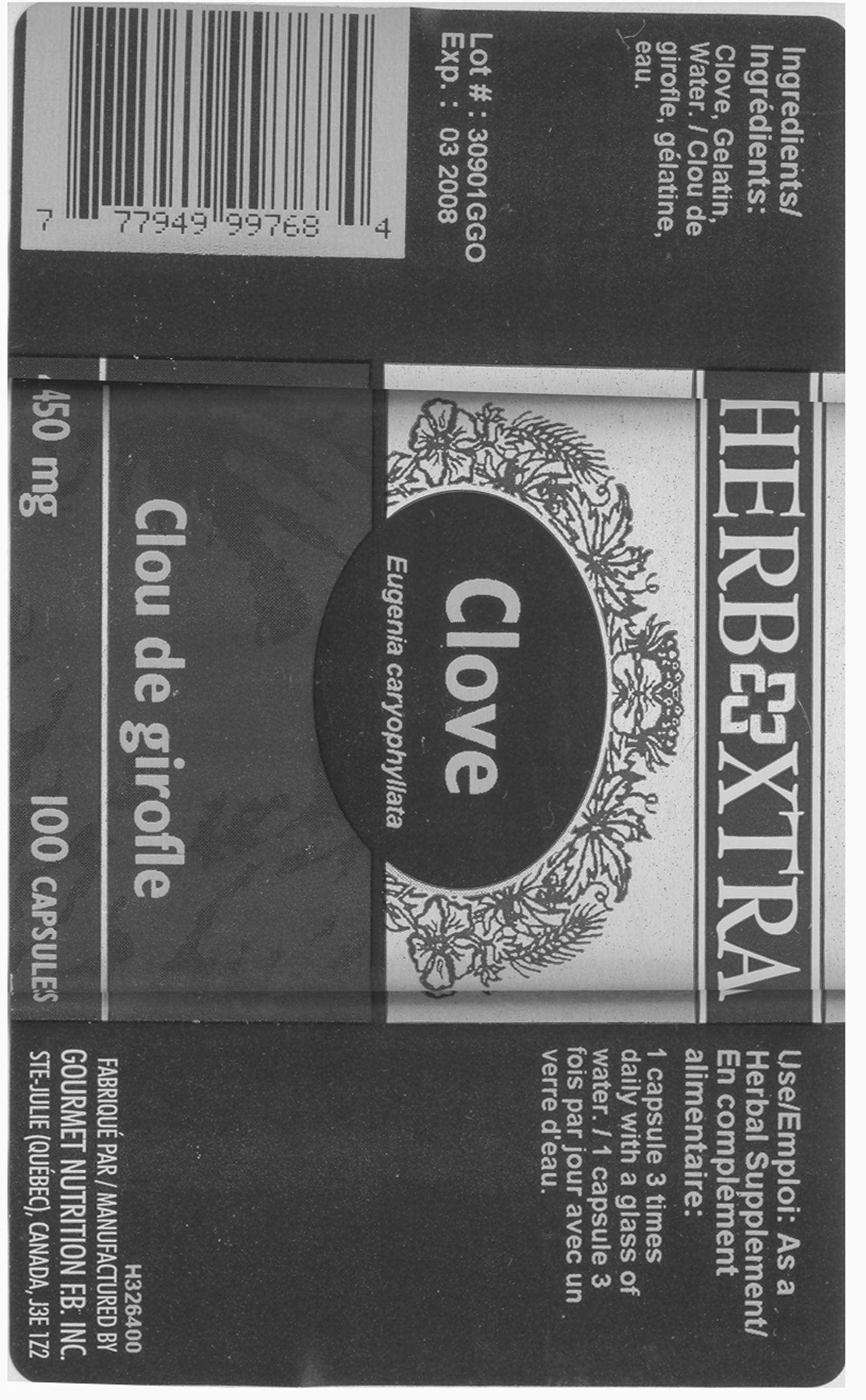 Clove Buds - 450 mg - Label