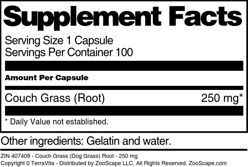 Couch Grass (Dog Grass) Root - 250 mg - Label