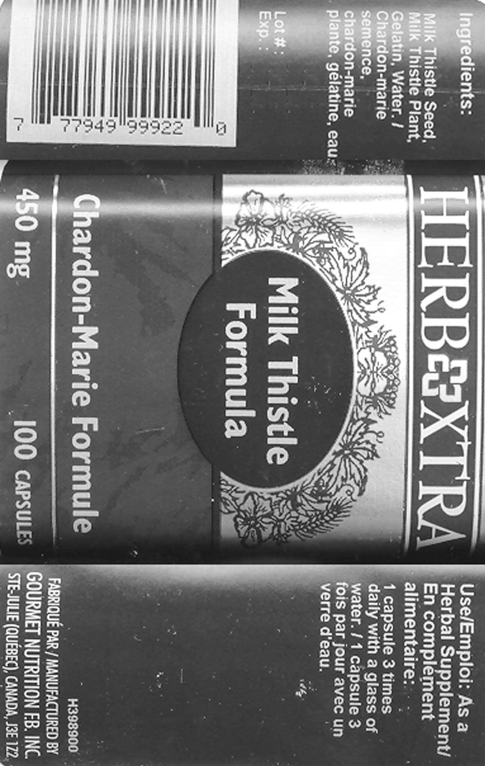 Milk Thistle Seed 225 mg - Milk Thistle Plant 225 mg - Label