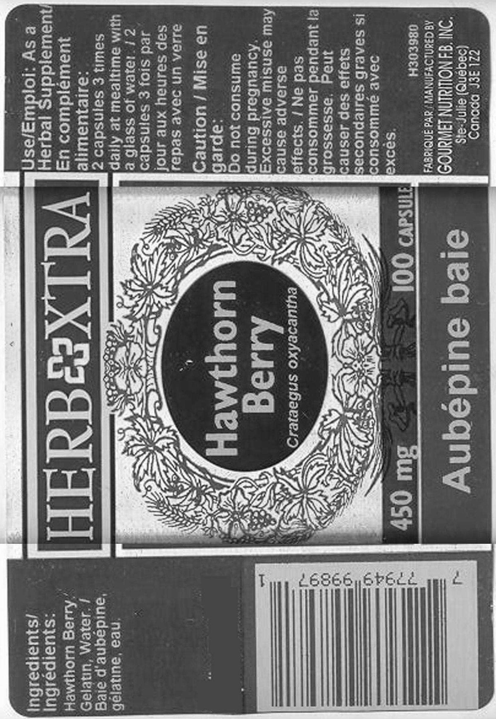Hawthorn Berries - 450 mg - Label