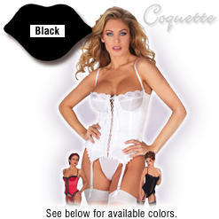 Satin Merry Widow Bustier and Thong Removable Straps & Garters, Hook & Eye Back Closure - Coquette - Black, Size 38