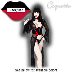 Stretch Velvet Collar, Thong and Waist Cincher with Lace-up Back - Coquette - Black/Red - Small