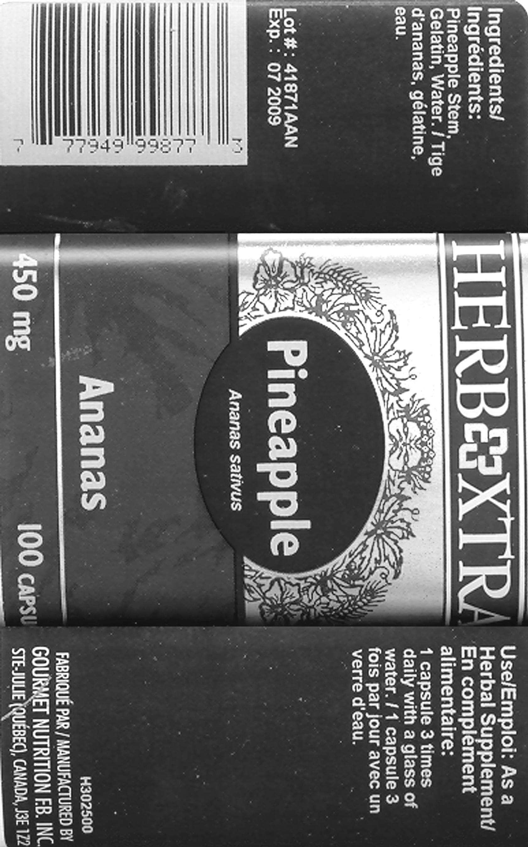 Pineapple Stem 450 mg - Label