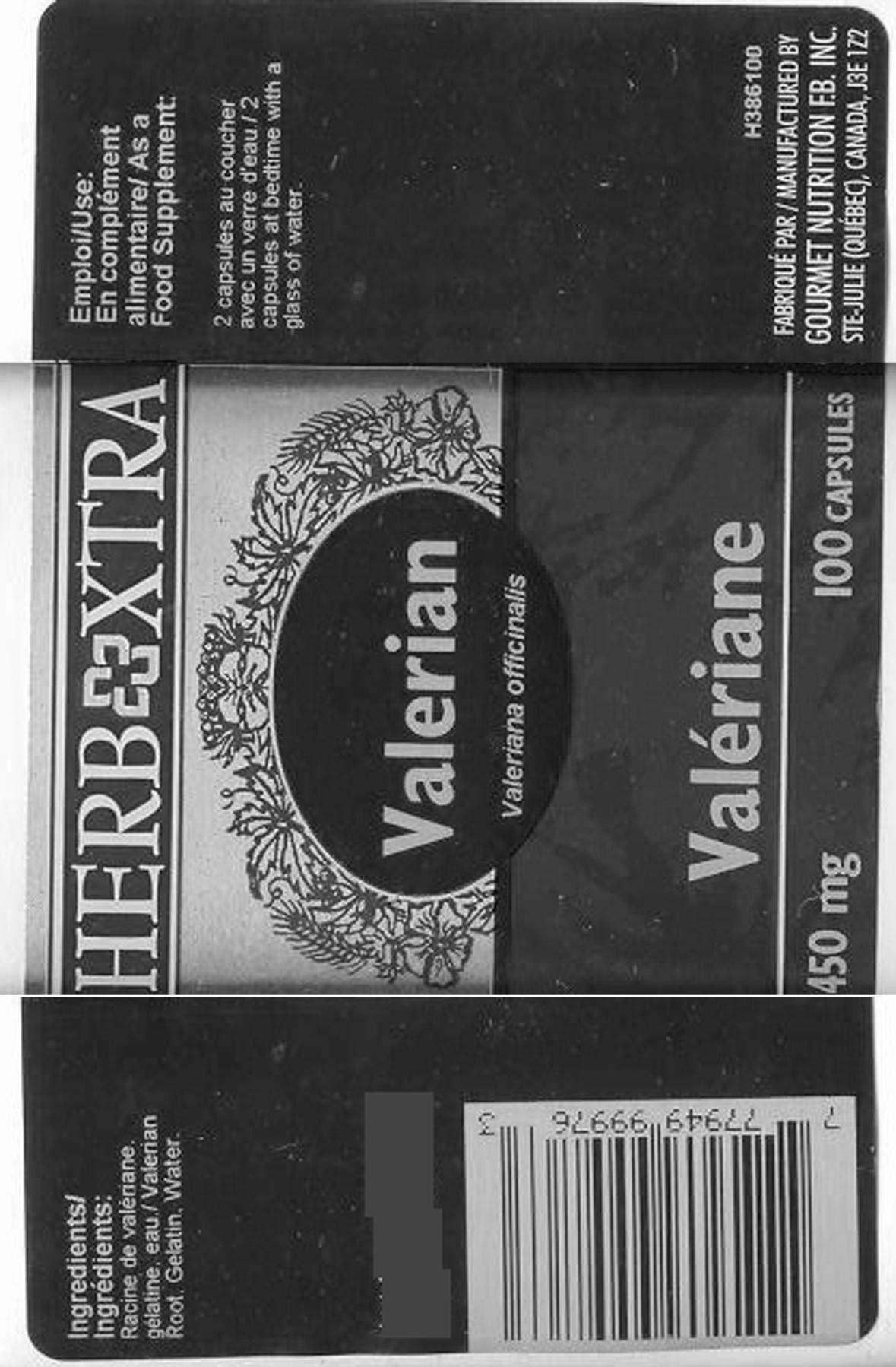 Valerian Root 450 mg - Label