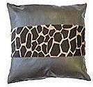 Giraffe Print Patent Leather Cushion - Stripe