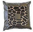 Giraffe Print Patent Leather Cushion - Square