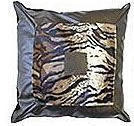 Tiger Print Patent Leather Cushion - Square