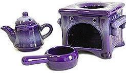 Tea Pot / Oven Oil Burner - Ceramic - Purple