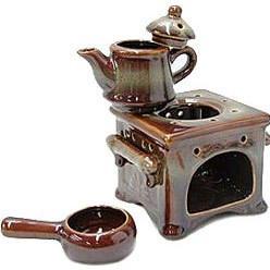 Tea Pot / Oven Oil Burner - Ceramic - Brown