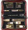 Manicure Set - Red Crocodile Finish Case - 6 Pieces - Gold Plated