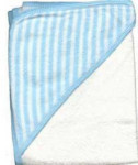 Infant Hooded Terry Bath Towel - Blue and White Stripes - 30 x 30