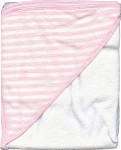 Infant Hooded Terry Bath Towel - Pink and White Stripes - 30 x 30
