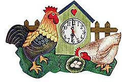 Orange Rooster Wall Clock