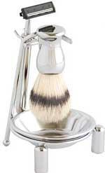 Track II Shaving Brush Set - Pure Bristle - Polished Chrome - 3 Pieces