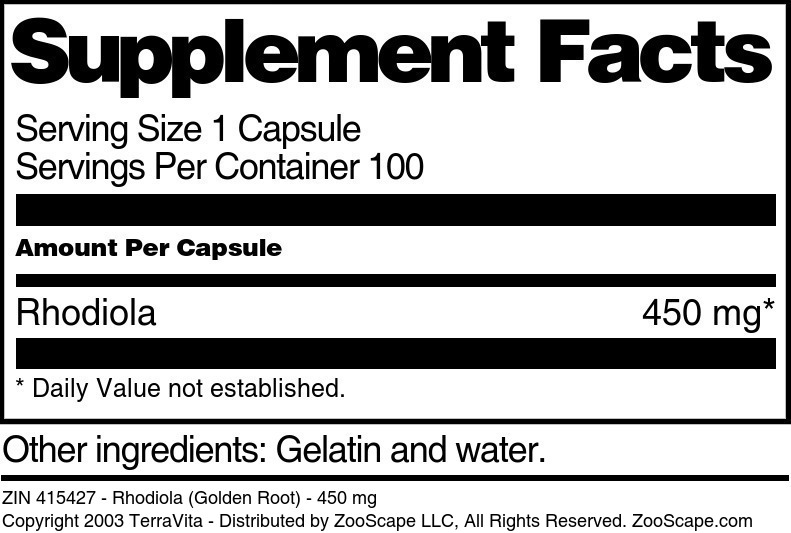 Rhodiola (Golden Root) - 450 mg - Label