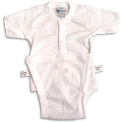 6 Months - Diapervest Diaper Shirt - Snap Front - White