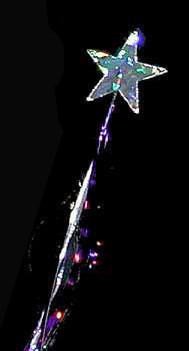 Miracle Star Wand - Holographic - with streamers