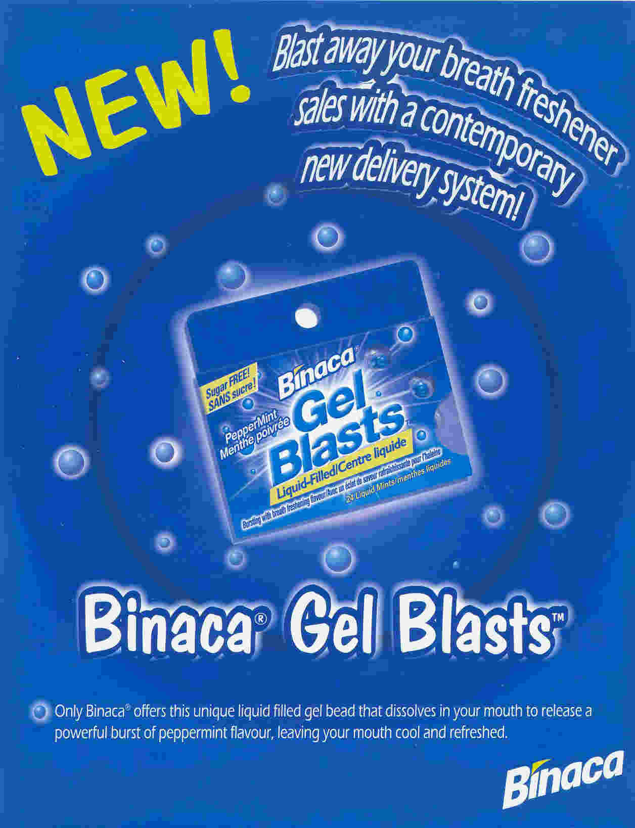 Binaca Gel Blasts - PepperMint - 24 mints