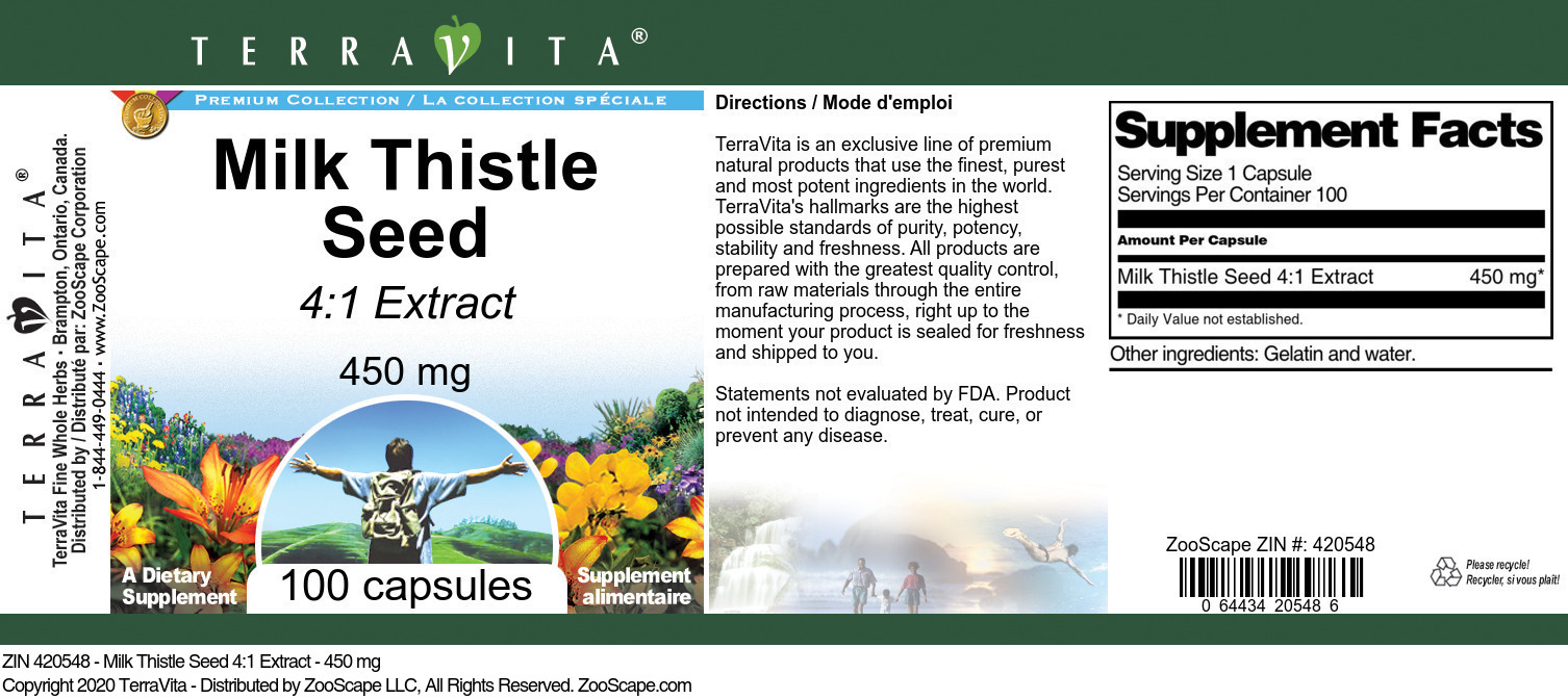 Milk Thistle Seed 4:1 Extract - 450 mg - Label