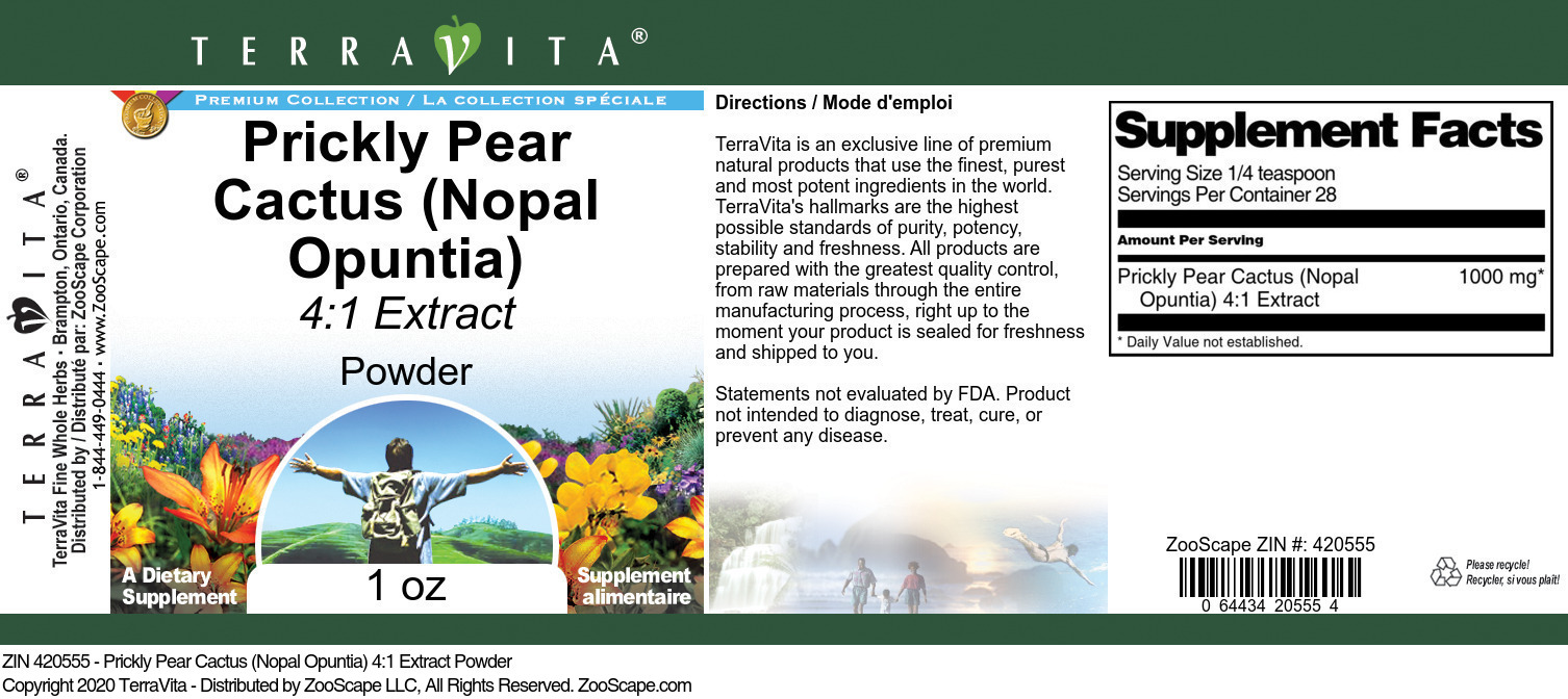 Prickly Pear Cactus (Nopal Opuntia) 4:1 Extract Powder - Label