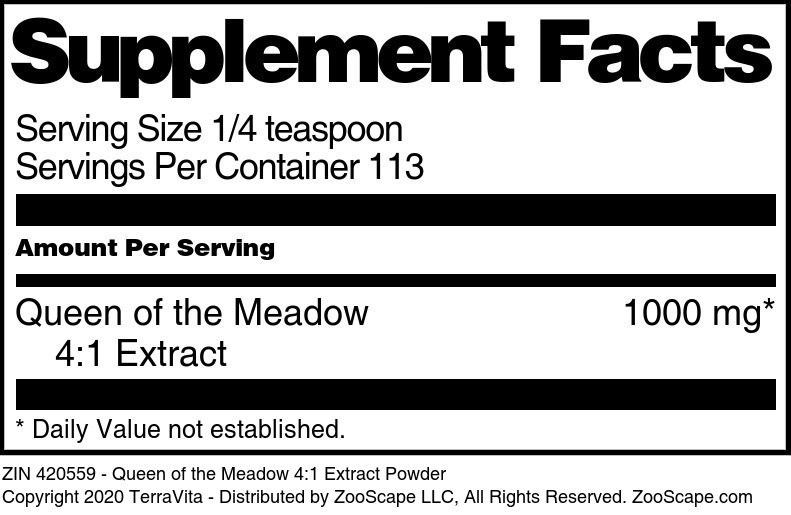 Queen of the Meadow 4:1 Extract Powder - Label
