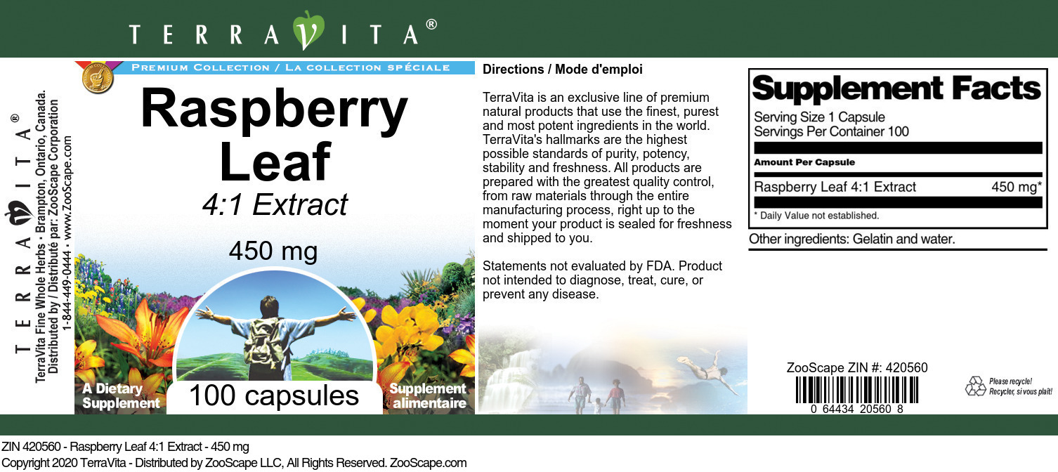 Raspberry Leaf 4:1 Extract - 450 mg - Label