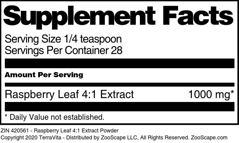 Raspberry Leaf 4:1 Extract Powder - Label