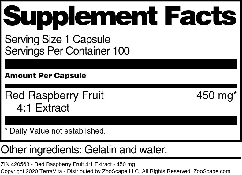Red Raspberry Fruit 4:1 Extract - 450 mg - Label