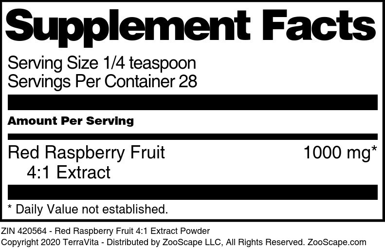 Red Raspberry Fruit 4:1 Extract Powder - Label