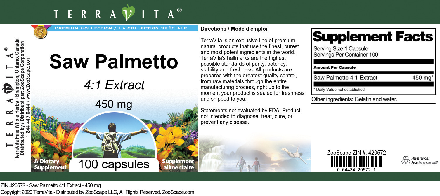 Saw Palmetto 4:1 Extract - 450 mg - Label