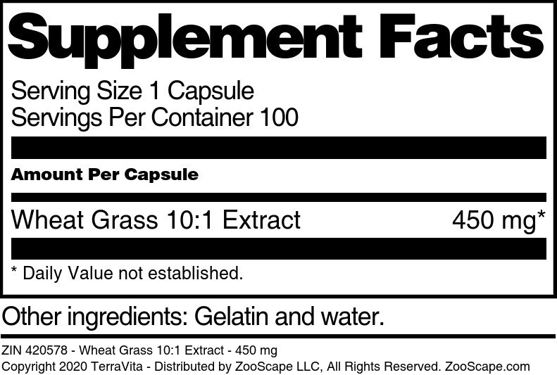 Wheat Grass 10:1 Extract - 450 mg - Label