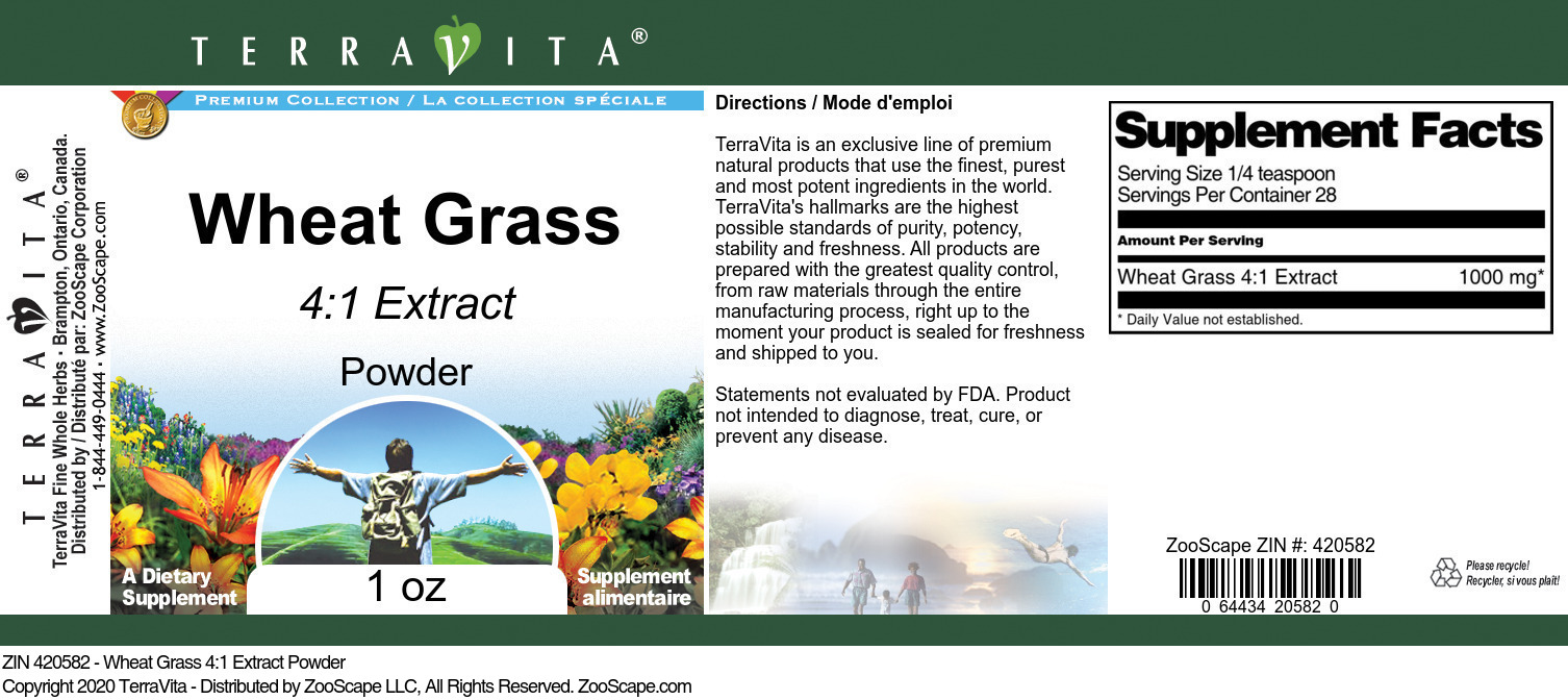 Wheat Grass 4:1 Extract Powder - Label
