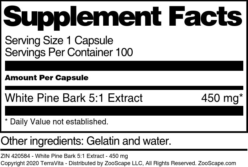 White Pine Bark 5:1 Extract - 450 mg - Label