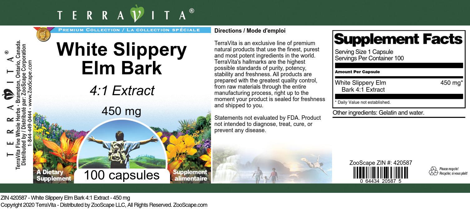 White Slippery Elm Bark 4:1 Extract - 450 mg