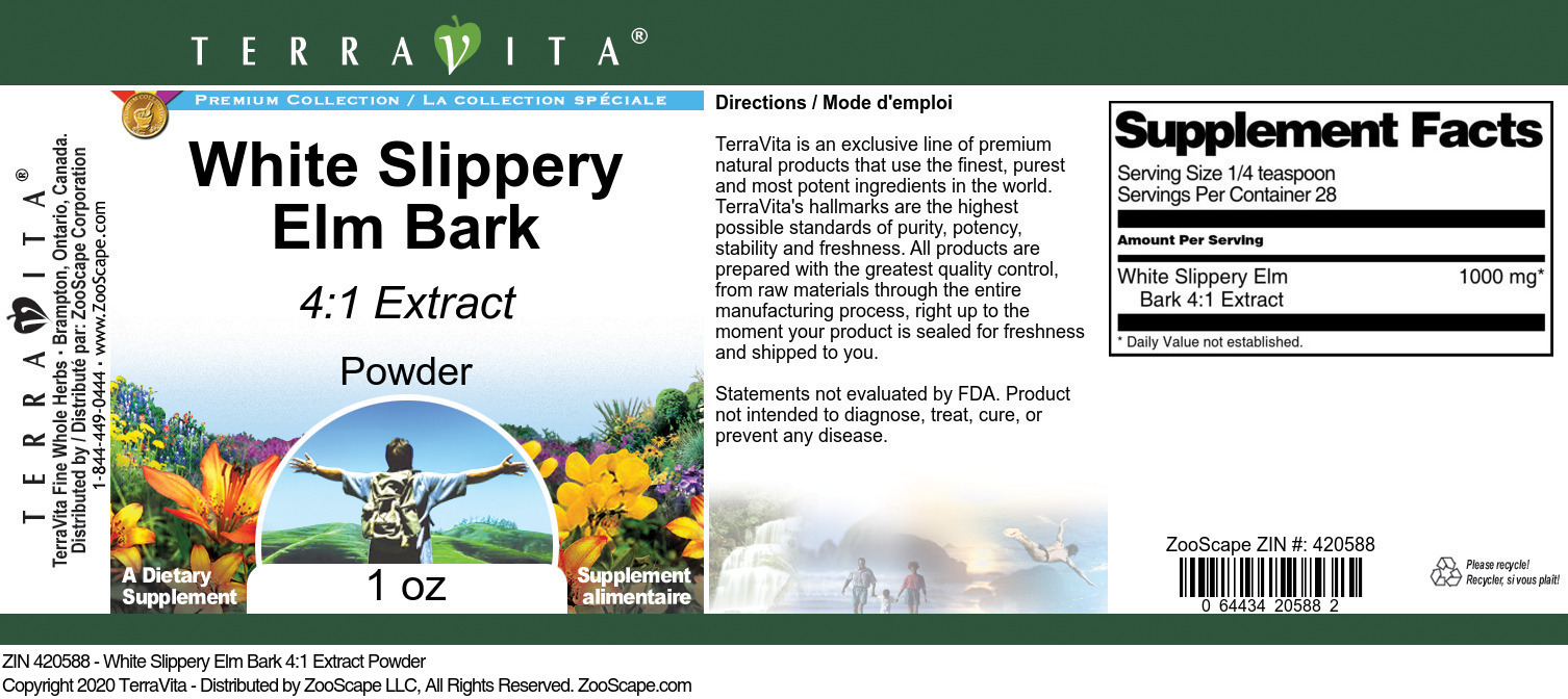 White Slippery Elm Bark 4:1 Extract Powder - Label
