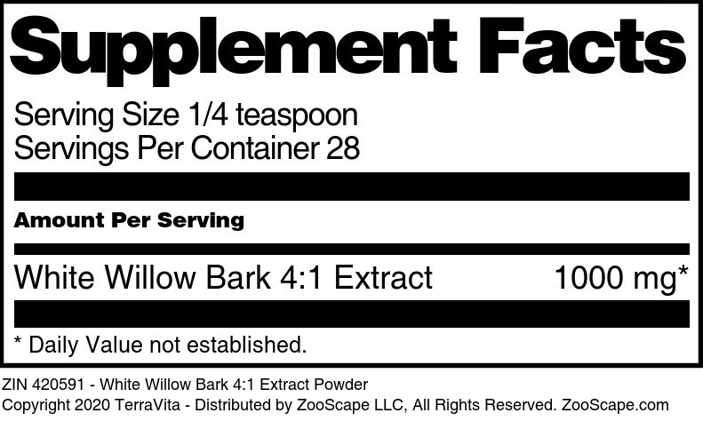 White Willow Bark 4:1 Extract Powder - Label