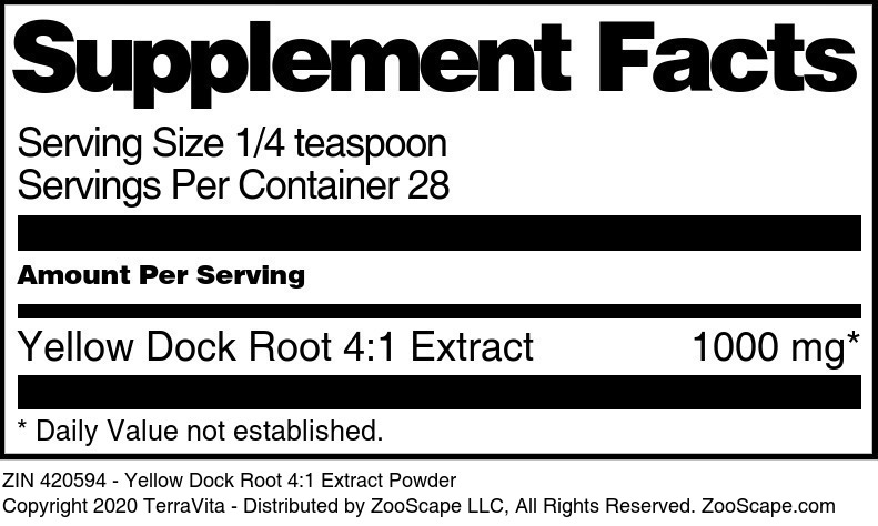 Yellow Dock Root 4:1 Extract Powder - Label