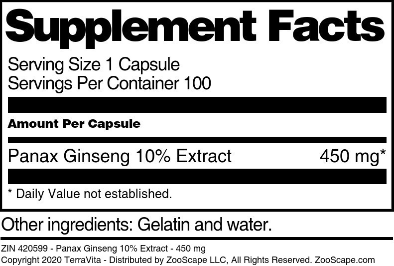 Panax Ginseng 10% Extract - 450 mg - Label