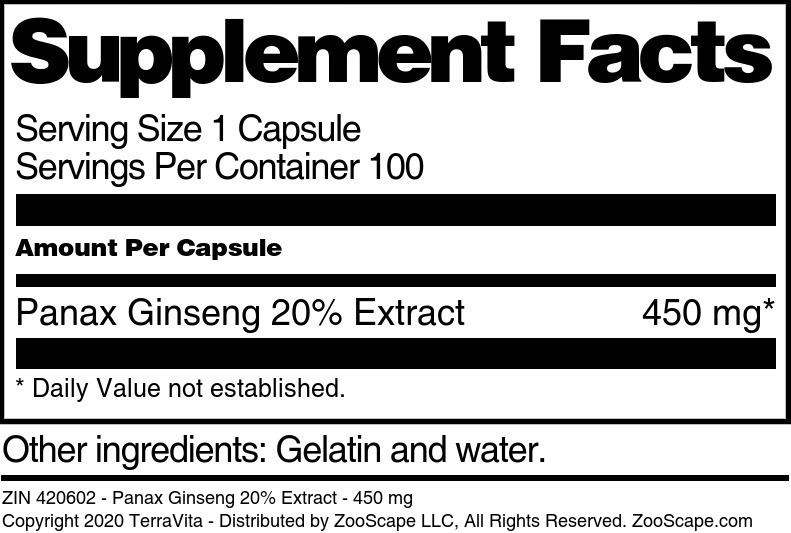 Panax Ginseng 20% Extract - 450 mg - Label