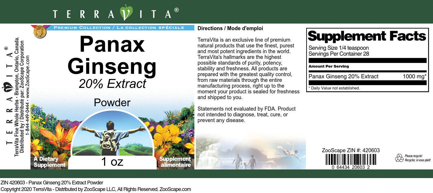 Panax Ginseng 20% Extract Powder - Label