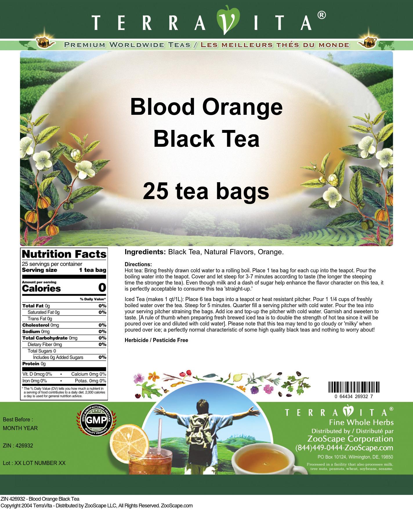 Blood Orange Tea - Label
