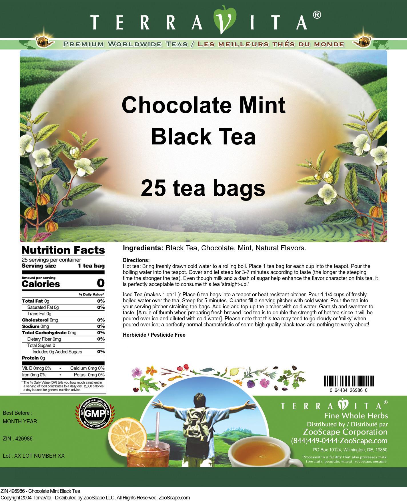 Chocolate Mint Black Tea - Label